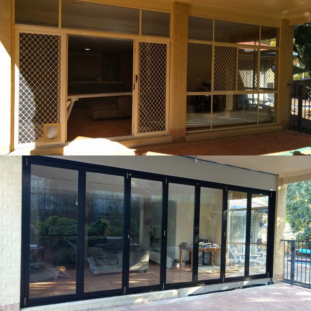 Before and after photos of existing sliding door and window and seven panel black aluminium bifold doors
