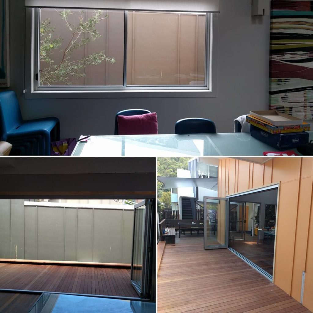 Before and after photos at North Stradbroke Island showing existing sliding window before and installed four panel clear anodised bifold doors